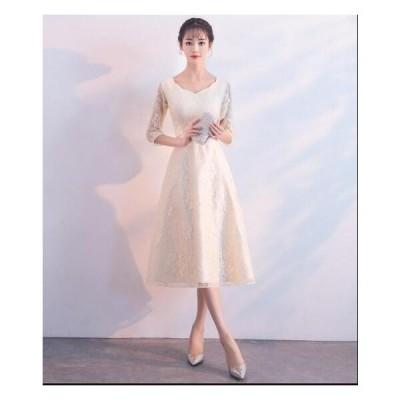 イブニングドレス 披露宴 ワンピース ミドルドレス レディース パーティードレス 二次会 刺繍 可愛い ウェディングドレス 謝恩会 韓国風 お嬢様 結婚式 花嫁