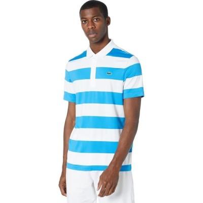 ラコステ Lacoste メンズ ポロシャツ 半袖 トップス Short Sleeve Striped Block Polo Ibiza/White