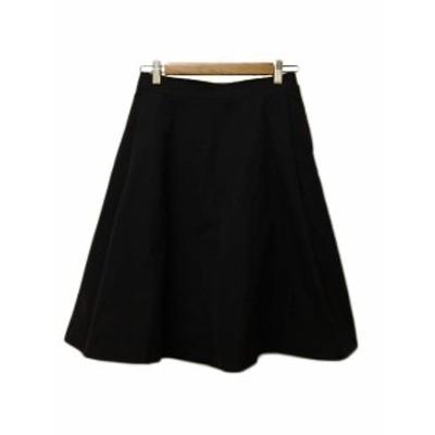 【中古】スピック&スパン ノーブル Spick&Span Noble スカート フレア ひざ丈 無地 タック 38 黒 レディース