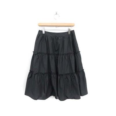 【中古】エムズグレイシー M'S GRACY 19SS ティアード スカート フレア ロング ミモレ 40 黒 ブラック /MF11 レディース 【ベクトル 古着】