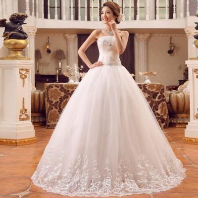 超美品!レディースロングウェディングドレス 二次会パーティードレス フォマールスパンコールドレス 妊婦も リボン 撮影写真プリンセス結婚式 編み上げ