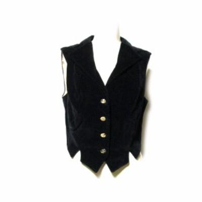 Vivienne Westwood ヴィヴィアンウエストウッド「42」イタリア製 ベロアベストジャケット (ヴィンテージ 黒 プリンセス) 126907 【中古】