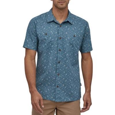 パタゴニア メンズ シャツ トップス Patagonia Back Step Short-Sleeve Button-Down Shirt Swamp Stamp Multi: Pigeon Blue