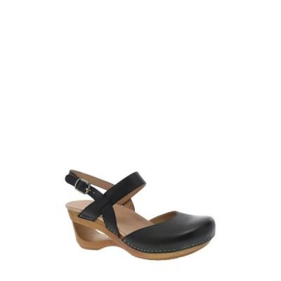 ダンスコ DANSKO レディース クロッグ シューズ・靴 Taci Slingback Clog Sandal Black Leather