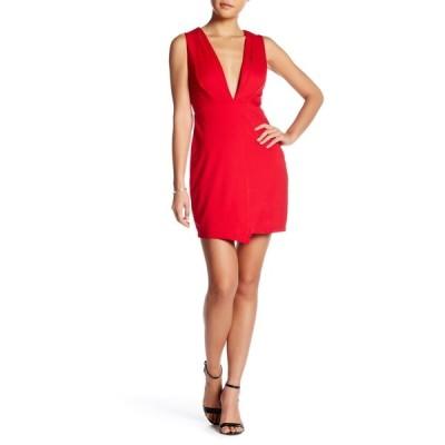 フライシュ レディース ワンピース トップス Deep-V Notched Mini Dress RED