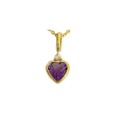 アメジストペンダント ネックレス トップ ダイヤモンド k18 ハート イエローゴールドK18 ダイヤ 18金 レディース 宝石 送料無料