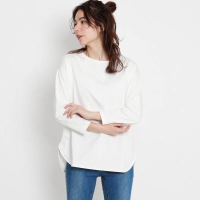ザ ショップ ティーケー  ウィメンズ THE SHOP TK(Women) ラウンドヘムロングTシャツ (オフホワイト)