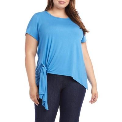 カレンケーン レディース Tシャツ トップス Short Sleeve Tie-Front Top CAPRI BLUE