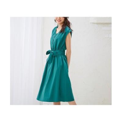 Vネックウエストリボンミディ丈ワンピース (ワンピース)Dress