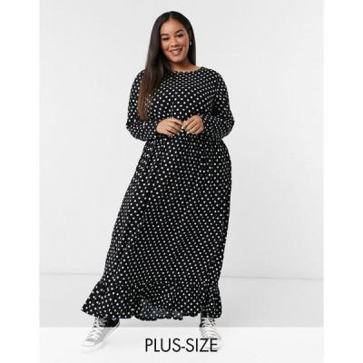 デイジーストリート ドレス 大きいサイズ レディース Daisy Street Plus midaxi smock dress in spot print エイソス ASOS ブラック 黒