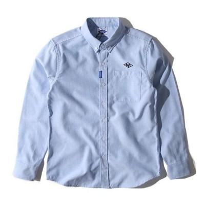 白シャツ メンズ ボタンダウンシャツ 長袖 オシャレ 英文字 ファッション