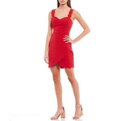 シティヴァイブ レディース ワンピース トップス Sleeveless Scalloped Faux-Wrap Sheath Dress