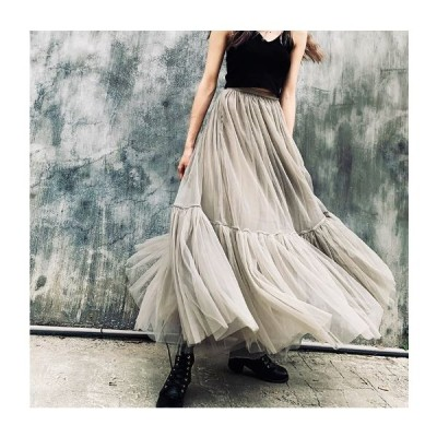 ティアード スカート ロング丈 チュール オーガンジー フレア ボトムス 裾 大人 女子 食事会 きれい かわいい かっこいい mme4430