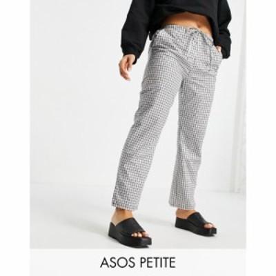 エイソス ASOS Petite レディース ボトムス・パンツ ASOS DESIGN Petite straight leg pull on poplin trouser in mono check モノチェッ