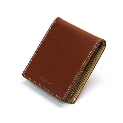 二つ折り財布 メンズ 牛本革 小銭入れ有 茶