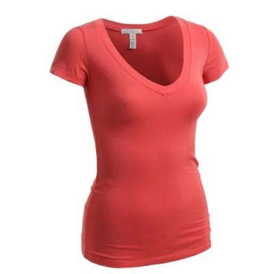 レディース 衣類 トップス Emmalise Women's Short Sleeve T Shirt V Neck Tee (Coral Small) グラフィックティー