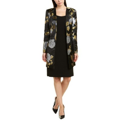 タハリ ワンピース トップス レディース Tahari ASL 2pc Sheath Dress & Jacket Set black gold roses
