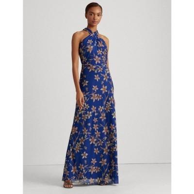 ラルフローレン ワンピース トップス レディース Floral Satin Gown Portuguese Blue