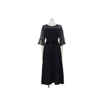 【Rewde】レースフレアスリーブドレス(0R04-A1952) (ネイビー)