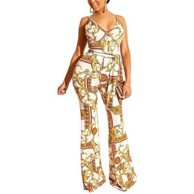 HX fashion ジャンプスーツ 女性 ファッショ ンエレガント レディース アイアンチェーン プリント ダブルVカラー スリング シャムパンツ