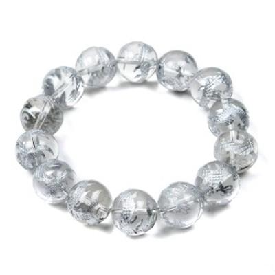 石輝 銀彫り五本爪皇帝龍 水晶 16mm ブレスレット 数珠 メンズ 天然石  [b522]