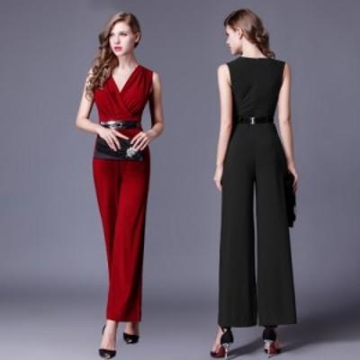 かっこいいパンツドレス 結婚式 パンツドレス 大きいサイズ 3l 4l パーティードレス パンツ 黒 お呼ばれドレス オールインワン