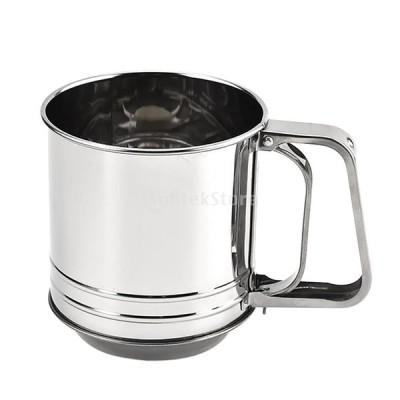 ステンレス鋼ロータリー小麦粉ふるいカップ粉砂糖シェーカーストレーナーふるい