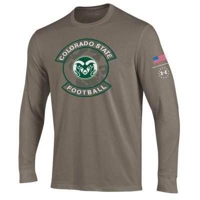 """メンズ Tシャツ 長袖 ロンT """"Colorado State Rams"""" Under Armour Military Appreciation Performance Long Sleeve T-Shirt - Tan"""