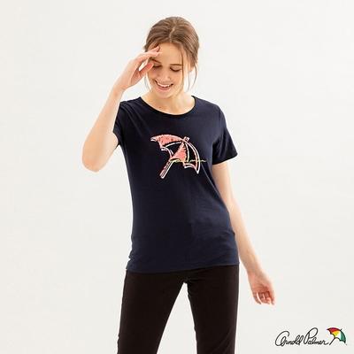 Arnold Palmer -女裝-蠟筆手繪大傘LOGO TEE-深藍色