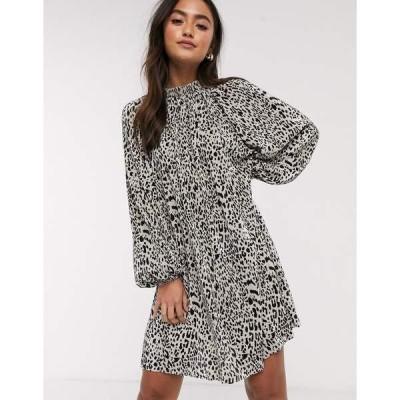エイソス レディース ワンピース トップス ASOS DESIGN oversized plisse smock dress in animal print Animal print