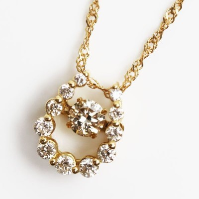 MN3109 K18 馬蹄 ダイヤモンドネックレスダイヤモンド  D0.20 0.21 2.5g 〜45.5cm スクリューフリーチェーン ダンシングダイヤ/中古
