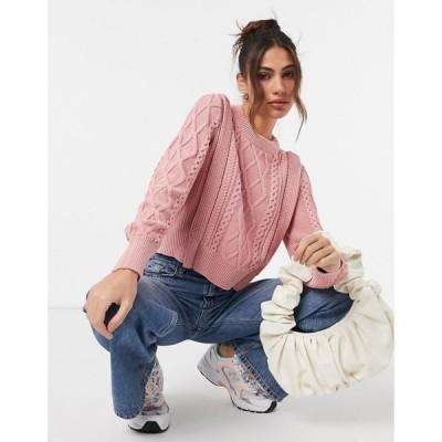 ワイ エー エス Y.A.S レディース ニット・セーター ケーブルニット トップス cable knit jumper in pink ベビーピンク