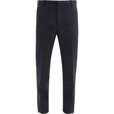 アレキサンダー マックイーン Alexander McQueen メンズ スラックス ボトムス・パンツ Pinstriped wool-twill suit trousers Navy