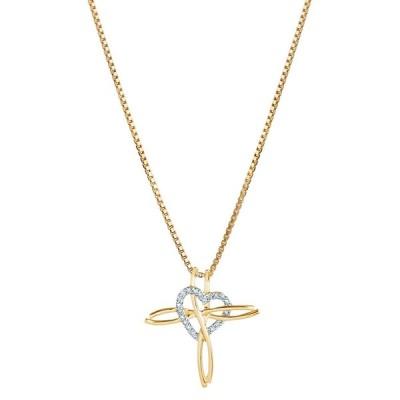 14K Yellow Gold Diamond Accent Cross Heart Pendant