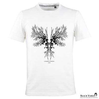Tシャツ 半袖 クルーネック スカル 髑髏 モノトーンハンドボーン インセクトウイング メンズ スリム 細身 mens(ホワイト白) crzkh187