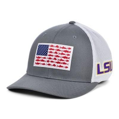 コロンビア メンズ 帽子 アクセサリー LSU Tigers PFG Fish Flag Stretch-fitted Cap Charcoal/White