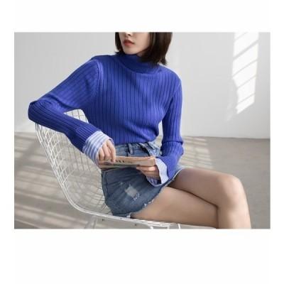 セーター      重ね着風 ハイネックリブセーター