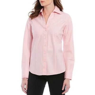 インベストメンツ レディース シャツ トップス Christine Gold Label Non-Iron Long Sleeved Textured Jacquard Button Front Shirt