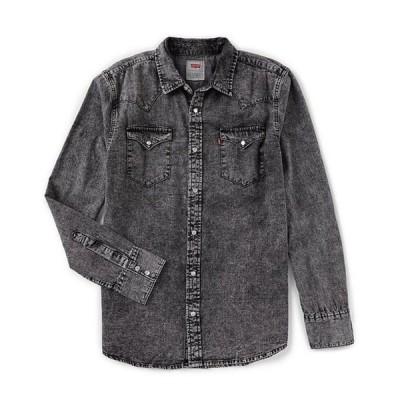 リーバイス メンズ シャツ トップス Levi'sR Young Men's Slim Fit Barstow Solid Snap-Front Denim Shirt