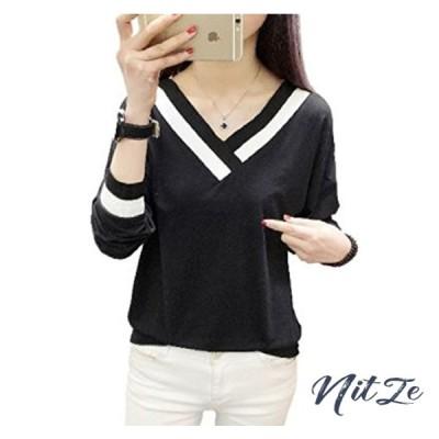 [1/2style(ニブンノイチスタイル)] 長袖 vネック ホワイト ブラック カットソー tシャツ レディース