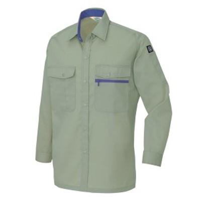 アイトス:エコT/Cニューベーシック 長袖シャツ(男女兼用)(薄地) アースグリーン L 5375