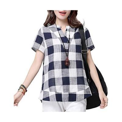 レディース 大きいサイズ カジュアル シャツ 半袖 格子柄 普段着トップス