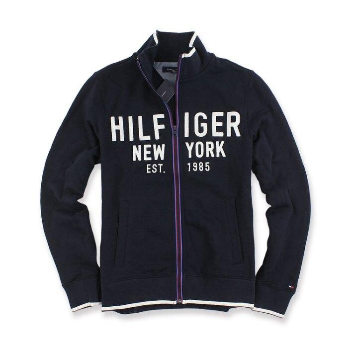 美國百分百【全新真品】Tommy Hilfiger 立領 棉質 外套 夾克 TH logo 男 深藍 XS號 I581