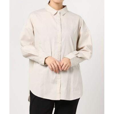 シャツ ブラウス コットンブレンド レギュラーカラーシャツ
