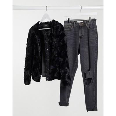 ヴェロモーダ レディース ジャケット・ブルゾン アウター Vero Moda cropped faux fur jacket in black