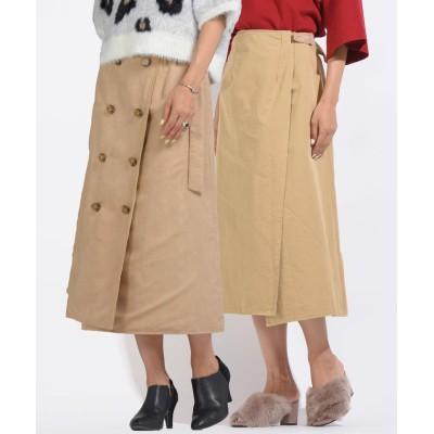 【メイソングレイ】 リバーシブルスェードトレンチスカート レディース ベージュ S(1) MAYSON GREY