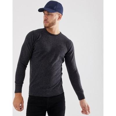 バブアー セーター メンズ Barbour essential lambswool crew neck jumper in grey エイソス ASOS グレー 灰色