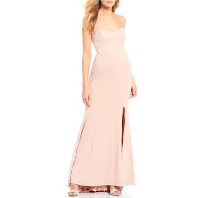 ジャンプ レディース ワンピース トップス Strapless Glitter Scuba Slim Long Dress