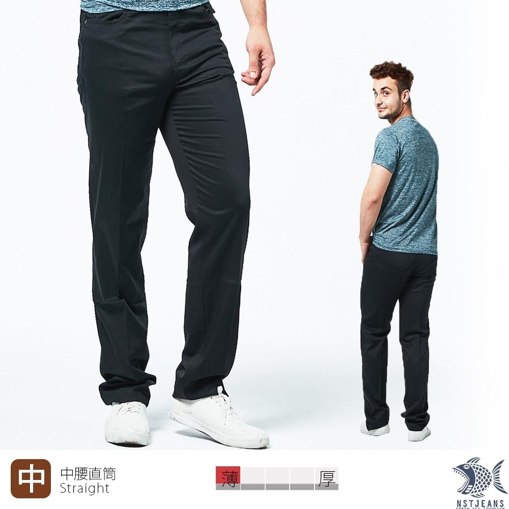 nst jeans男休閒褲 中腰直筒 黑橡果 純棉微彈(中腰 390(5683)夏季薄款