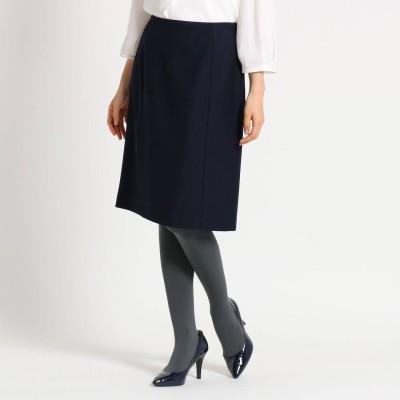 スーナウーナ SunaUna 【洗える】ウール混ミドルタイトスカート (ネイビー)